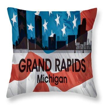 Grand Rapids Mi American Flag Vertical Throw Pillow