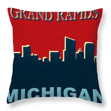 Grand Rapids Michigan Skyline Rustic Throw Pillow