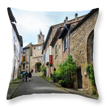 Grand Rue De L'horlogue In Cordes Sur Ciel Throw Pillow by RicardMN Photography