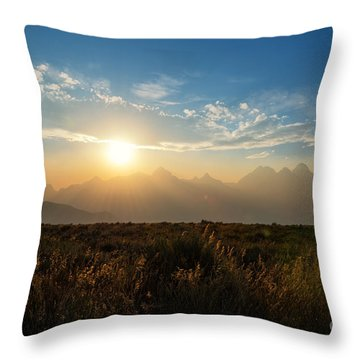 Grand Teton Hazy Sunset  Throw Pillow