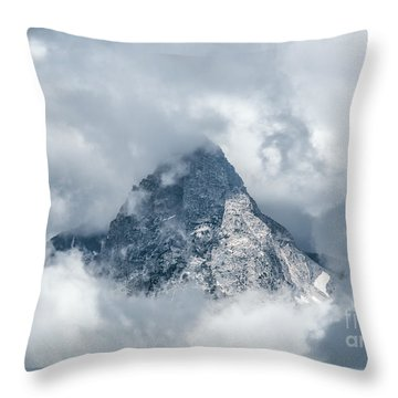 Grand Teton In Clouds Throw Pillow