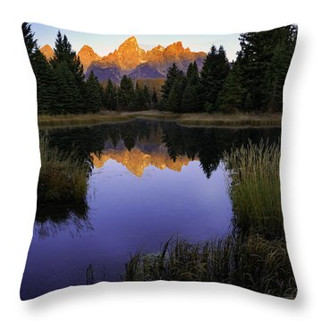 Grand Teton Morning Throw Pillow