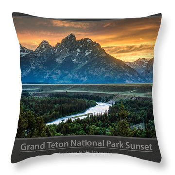 Grand Teton National Park Sunset Poster Throw Pillow by Gary Whitton