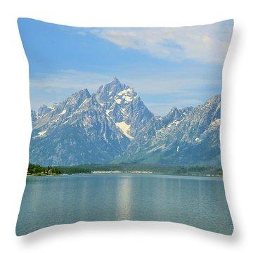 Grand Teton Over Jackson Lake Throw Pillow