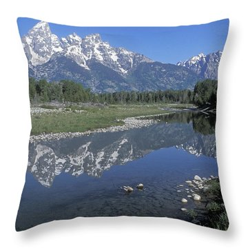Grand Teton Reflection At Schwabacher Landing Throw Pillow