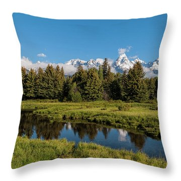 Grand Teton Reflection Throw Pillow by Brian Harig