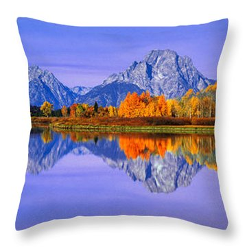 Grand Tetons And Reflection In Grand Throw Pillow