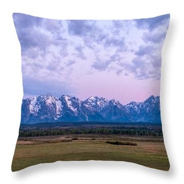 Grand Tetons Before Sunrise Panorama - Grand Teton National Park Wyoming Throw Pillow