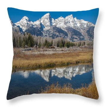 Throw Pillow featuring the photograph Grand Tetons by Gary Lengyel