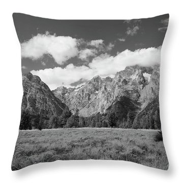 Grand Tetons In Black And White Throw Pillow