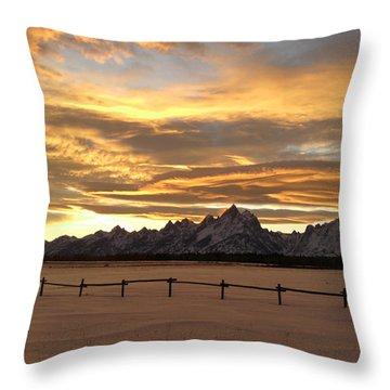 Grand Tetons In January Glory Throw Pillow