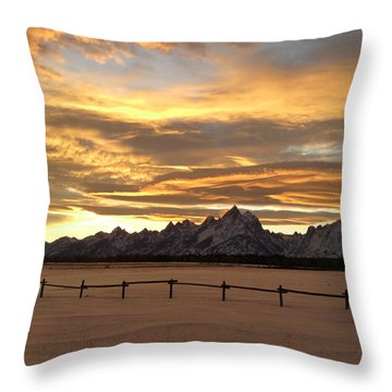 Grand Tetons In January Glory Throw Pillow