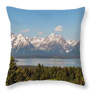 Grand Tetons Over Jackson Lake Panorama Throw Pillow