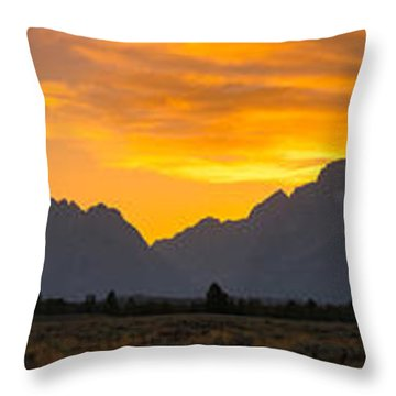 Grand Tetons Sunset Throw Pillow