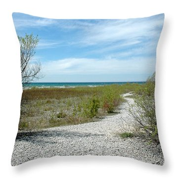 Throw Pillow featuring the photograph Grand Traverse Bay Path by LeeAnn McLaneGoetz McLaneGoetzStudioLLCcom