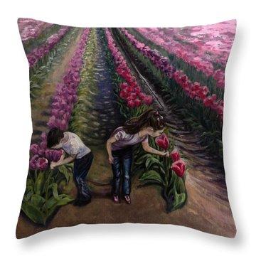 Grandchildren At Roosengaarde  Throw Pillow
