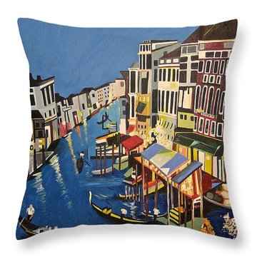 Grande Canal Throw Pillow by Donna Blossom