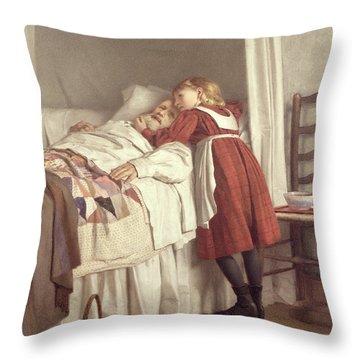 Grandfathers Little Nurse Throw Pillow by James Hayllar