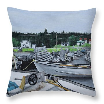 Grandfathers Wharf Throw Pillow