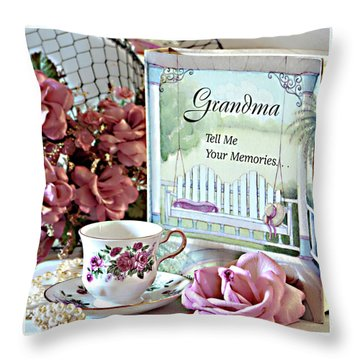 Grandma Tell Me Your Memories... Throw Pillow