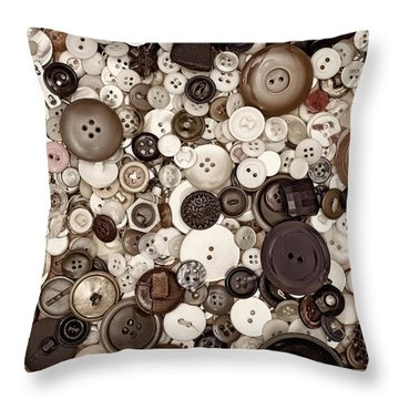 Grandmas Buttons Throw Pillow