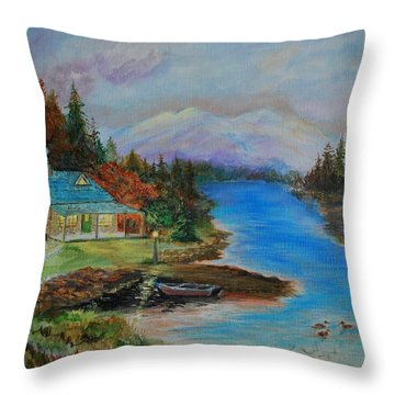 Throw Pillow featuring the painting Grandmas Cabin by Leslie Allen