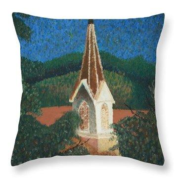 Throw Pillow featuring the painting Grandmas Church by Jacqueline Athmann