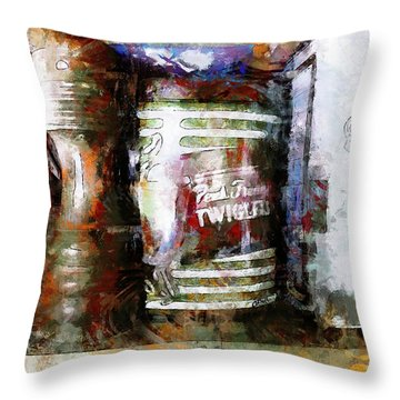 Throw Pillow featuring the photograph Grandma's Kitchen Tins by Claire Bull