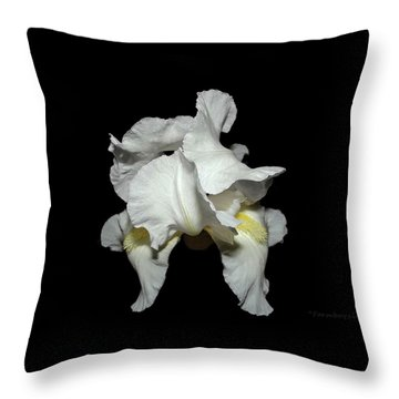 Grandma's White Iris Throw Pillow