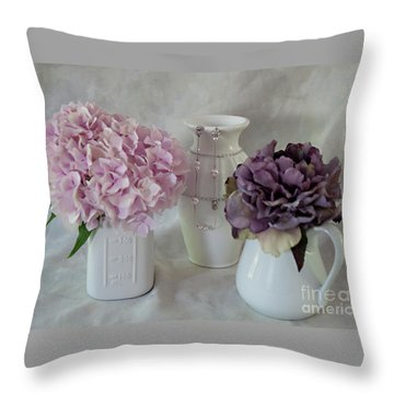 Throw Pillow featuring the photograph Grandmother's Vanity Top by Sherry Hallemeier