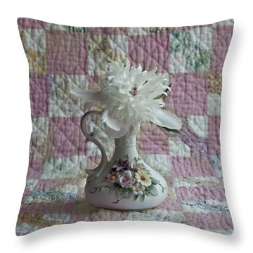 Grandmother's Vase And Her Son's Quilt Throw Pillow