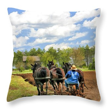 Grandpa And His Team Of Horses At Old World Wisconsin Throw Pillow