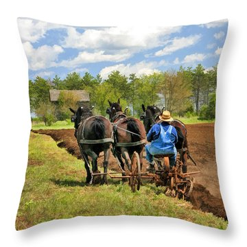 Throw Pillow featuring the painting Grandpa And His Team Of Horses At Old World Wisconsin by Christopher Arndt