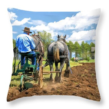 Grandpa At The Plow At Old World Wisconsin Throw Pillow