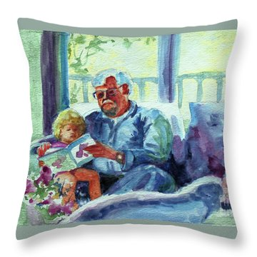Throw Pillow featuring the painting Grandpa Reading by Kathy Braud