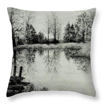 Grandpa's Pond Throw Pillow