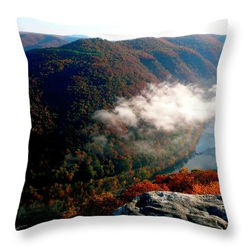 Grandview New River Gorge Throw Pillow by Thomas R Fletcher