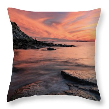 Throw Pillow featuring the photograph Granite Sunset Rockport Ma. by Michael Hubley