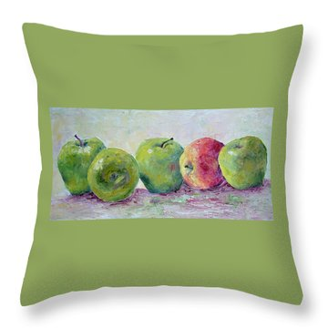 Grannie Smiths And A Gala Throw Pillow by Jill Musser