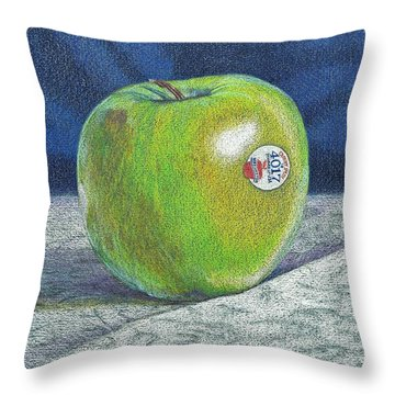 Throw Pillow featuring the painting Granny Smith by Robert Decker