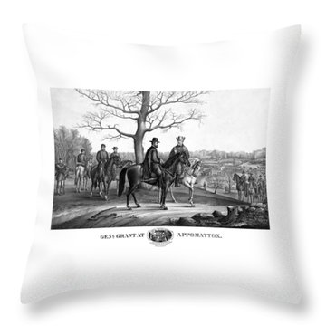 Throw Pillow featuring the mixed media Grant And Lee At Appomattox by War Is Hell Store