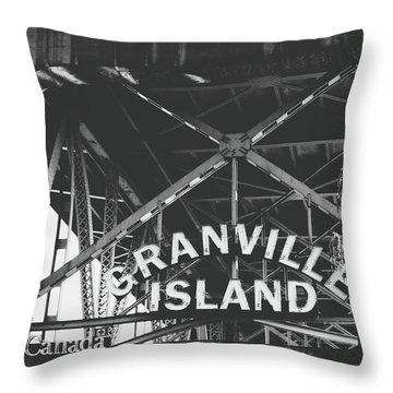 Granville Island Bridge Black And White- By Linda Woods Throw Pillow