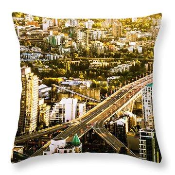 Granville Street Bridge Vancouver British Columbia Throw Pillow