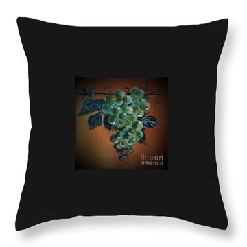 Throw Pillow featuring the ceramic art Grape Cluster 1 by Andrew Drozdowicz