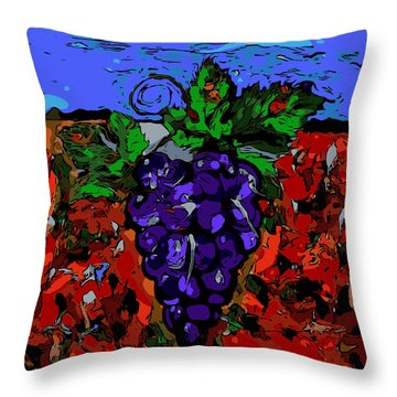 Grape Jazz Digital Throw Pillow