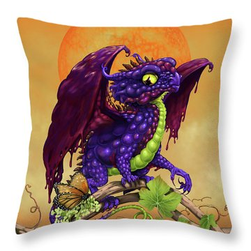 Throw Pillow featuring the digital art Grape Jelly Dragon by Stanley Morrison