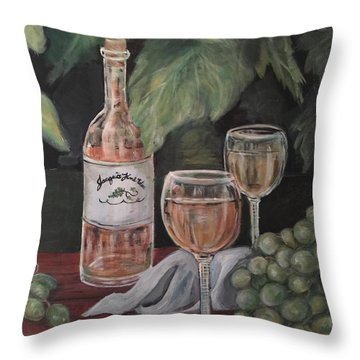 Grape Leaves And Wine Throw Pillow