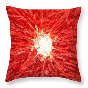 Grapefruit Close-up Throw Pillow