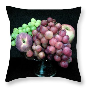 Grapes And Fruit Throw Pillow by Sandi OReilly