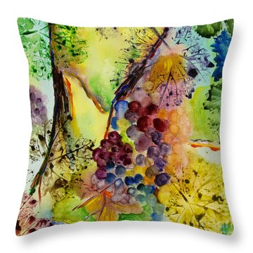 Throw Pillow featuring the painting Grapes And Leaves IIi by Karen Fleschler